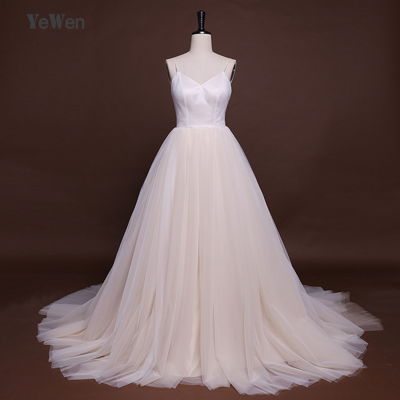 Sexy V Neck Soft tulle Beach Wedding Dresses Long Chapel Train Spaghetti Straps A Line Bridal Gown 2018 YeWen Vestido de novia