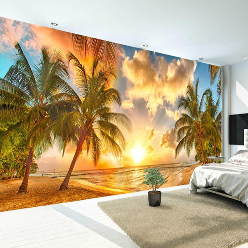 カスタム 3D 日の出シービューココナッツ木の壁の装飾壁画壁紙リビングルームの寝室のレストランの背景壁装材
