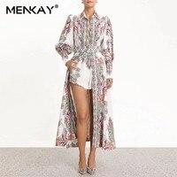 [MENKAY] Zim Vintage Print Long Lantern Sleeve Side Split Maxi Beach Dresses Women Trench Coat With Belt Female 2019 Summer
