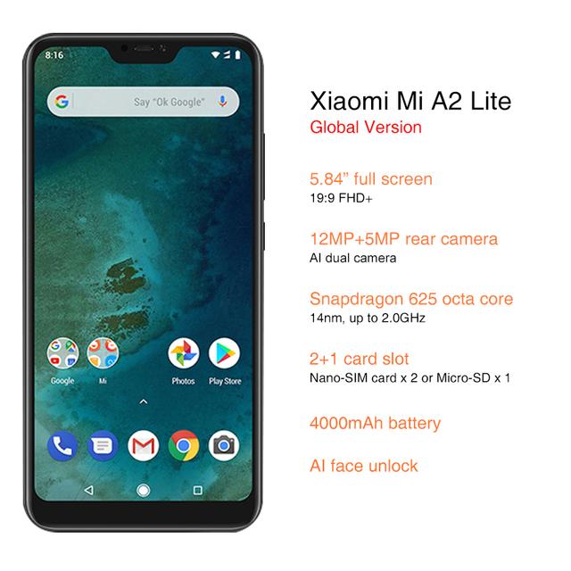 Global Version Xiaomi Mi A2 Lite 4GB 64GB 5.84 inch Full Screen Snapdragon 625 Android One 4000mAh AI Face Unlock Cellphone
