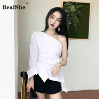 RealShe 2019 Shirt Women Skew Colla Long Sleeeve Buttons Solid Shirt Female Loose Summer Fashion Streetwear Blouse And Tops