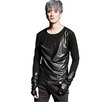 Men Long Sleeve T shirt Leather Splice Fashion Punk Gothic Rock Male Tees Shirts