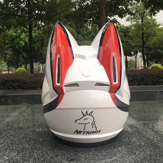 NITRINOS Motorcycle helmet men and women racing personality four seasons safety helmet cat ear helmet 2