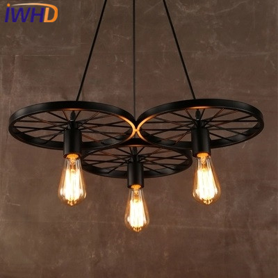 IWHD Iron Black Retro Vintage Industrial Pendant Lights  Style Loft  Rusty color Pendant Lamp Bicycle wheels light Fixtures iwhd gold iron style loft industrial vintage pendant lights retro birdcage hanging lamp kitchen dining room luminaire suspendu