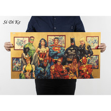 Si Di Ke Vintage cartel de Marvel superhéroe Superman, Batman, Flash, película carteles Kraft de papel de arte de la pared pintura cartel Retro