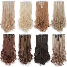 AISI BEAUTY 8 шт./компл. 18 клипов длинные волнистые синтетические заколки для волос для наращивания для женщин шиньоны Черный Коричневый поддельные волосы натуральные