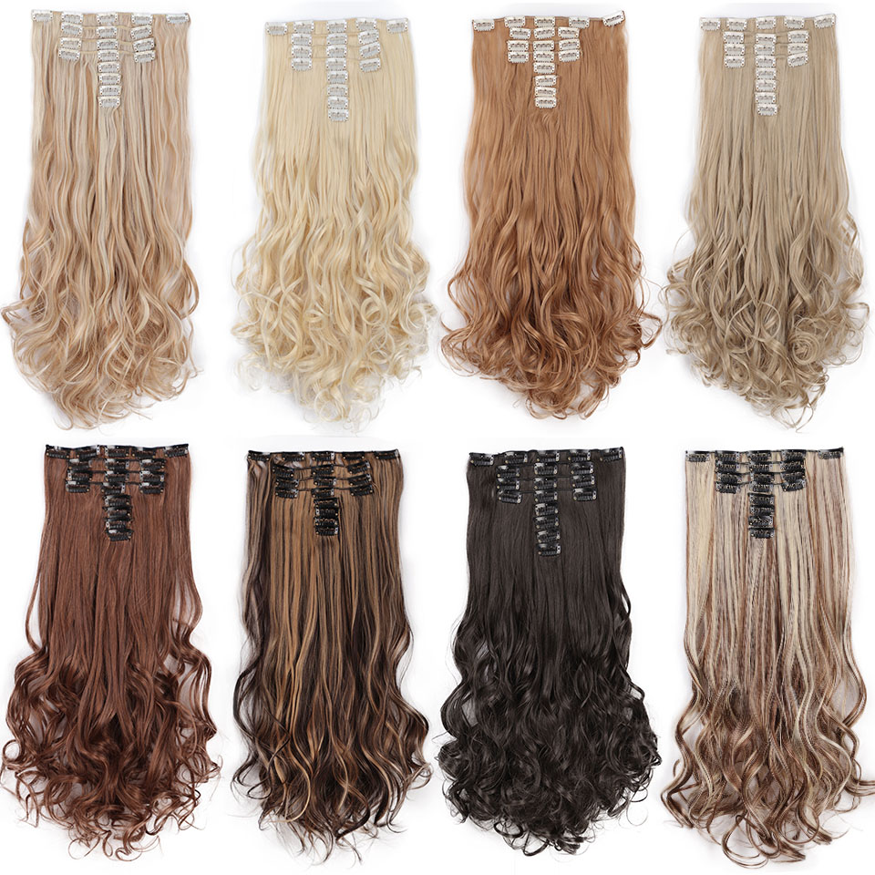 Aisi Beauty 8 Pcs/set Full Head Long Wavy Synthetic 18 Clips In Hair Extensions For Women Hairpieces Blonde Black Brown To Help Digest Greasy Food