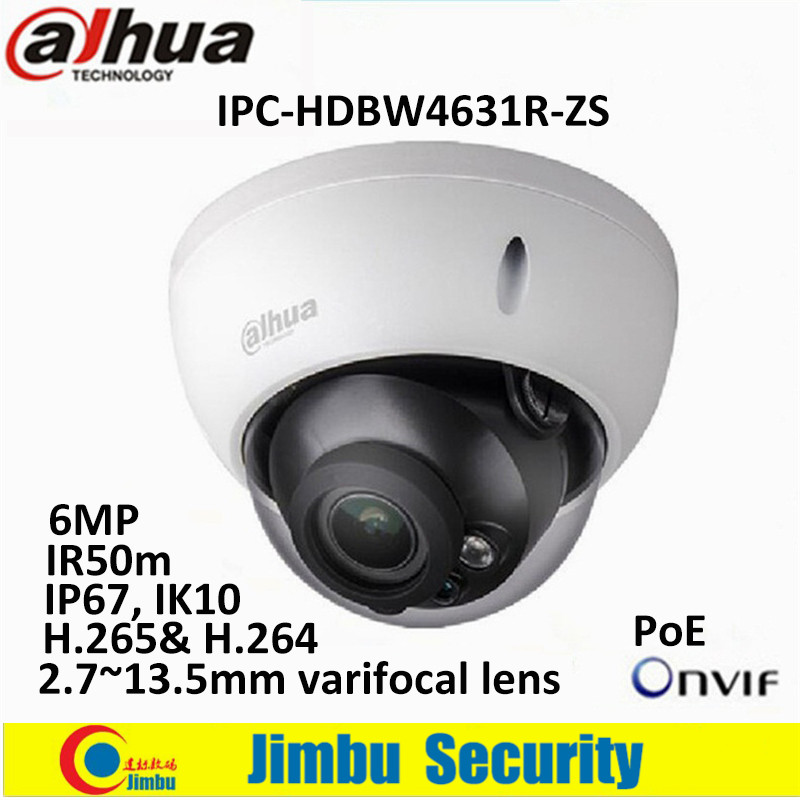 Dahua IP Camera 6Mp IPC-HDBW4631R-ZS 2.8mm ~12mm varifocal motorized lens H2.65 IR50 with sd Card slot POE network camera цена