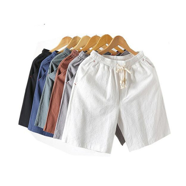 2019 Fashion Men's summer Elastic waistline cotton linen casual shorts/Men breathable Casual harlan shorts Plus size S-5XL