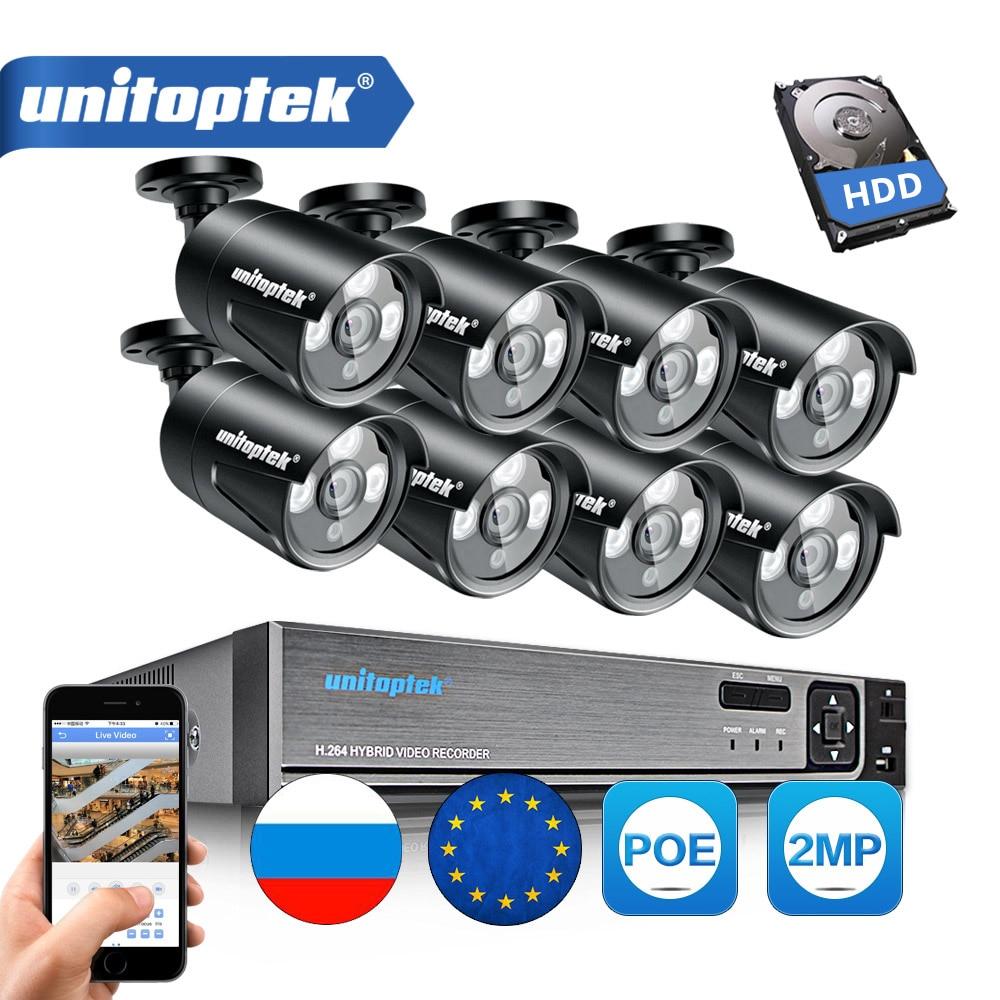 8CH CCTV POE NVR 1080 p CCTV Sistema di Sicurezza Kit (8) 2.0MP Esterna Onvif Ip IP66 Impermeabile di IR P2P Video di Sorveglianza di Set