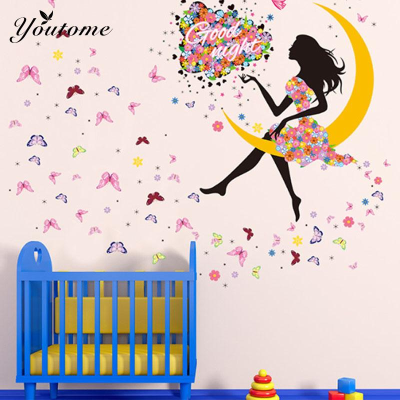 DIY Princess Butterfly Moon Girls Art Decal Wall Stickers For Home Decor Mural Kids Bedroom Living Room Wall Decoration