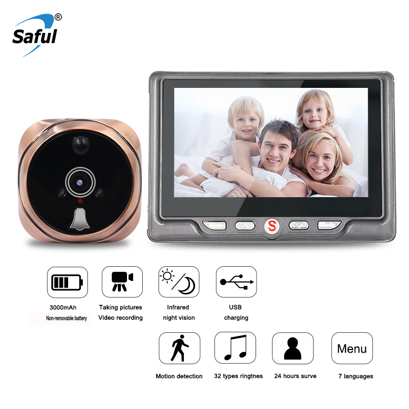 цена Saful 4.3'' 3000mAh Peephole Camera Door Viewer Wireless Video Doorbell with Night Vision Motion Detection Video/Photo Taking