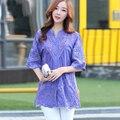 Новый 2016 Летние Blusas Вышивка Рубашка Блудниц Блузки С Коротким Рукавом V-образным Вырезом Выдалбливают Женщины топы Плюс размер