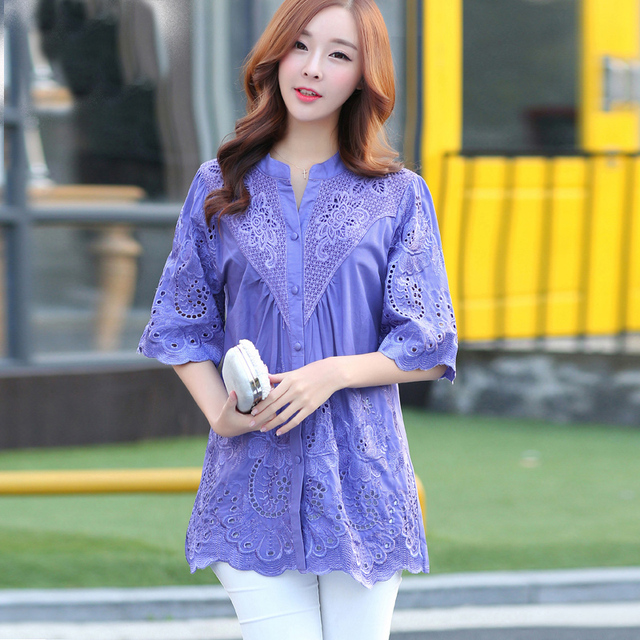 New 2016 Summer Blusas  Embroidery Shirt Loose Women Blouses Short Sleeve V-Neck Hollow Out  Women tops Plus size