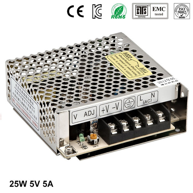 Best quality 5V 5A 25W Switching Power Supply Driver for LED Strip AC 100-240V Input to DC 5V free shipping