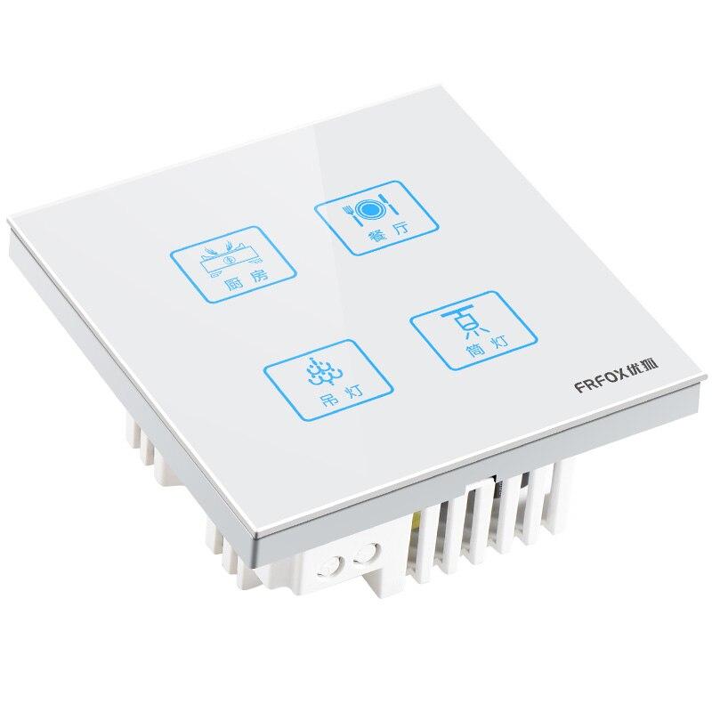 1 pièces C8 intelligent tactile interrupteur panneau de verre quatre ouvert simple contrôle 4 ouvert écran tactile Yuba commutateur lettrage gratuit