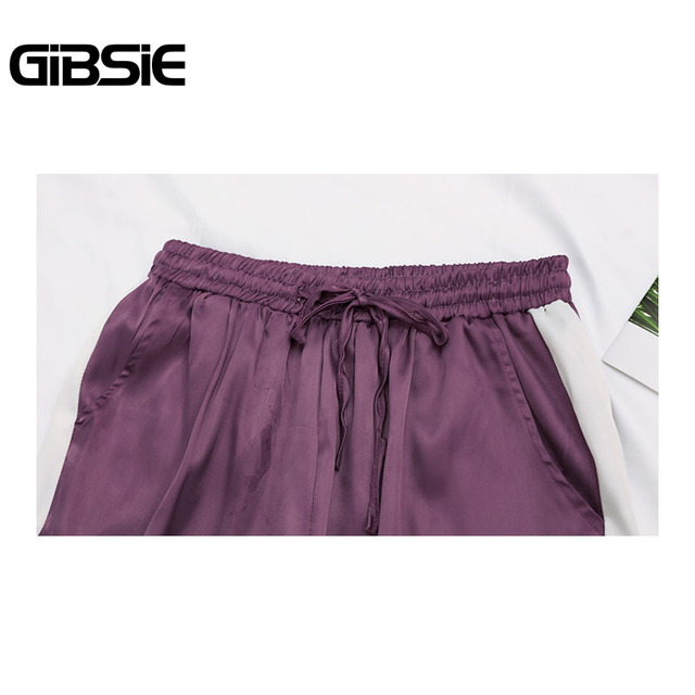 GIBSIE Plus Size Women Clothing 5XL 4XL 3XL Summer Color Block Satin Trousers Women Sweatpants Casual High Waist Harem Pants 4