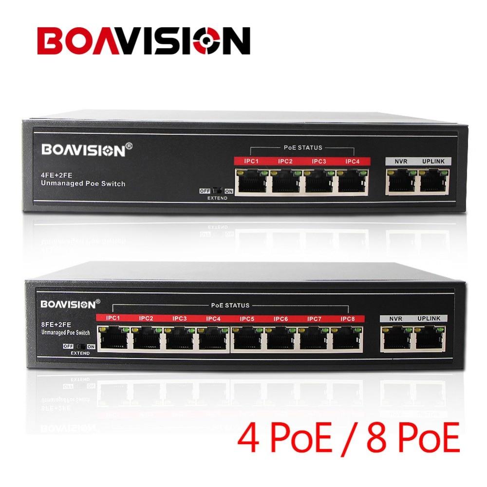 4 / 8 Port PoE Switch Adapter 4 ( or 8 ) +2 Up Link Desktop Fast Ethernet Switch IEEE802.3af/at For CCTV IP Cameras POE Powered tp link tl sf1005 rj45 5 port ethernet ethernet desktop switch hub white