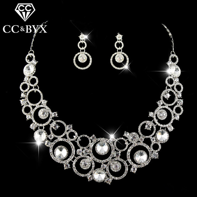 Shine Crystal Wedding Jewelry Sets For Brides Beautiful Cubic Zirconia Necklace Earrings Chic Fashion Accessories