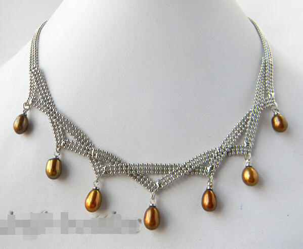 >>>>17'' 7mm Coffee Teardrop Freshwater Pearl Necklace can choice white balck pink purple
