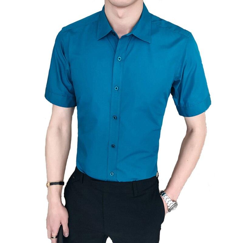 New Arrival Brand Mens Summer Business Shirt Short Sleeves Turn-down Collar Tuxedo Shirt Shirt Men Shirts Big Size 3XL