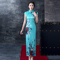 The Temperament Sky Blue Long Cheongsam Dress New Vintage Modified Slim Dress Cheongsam Daily