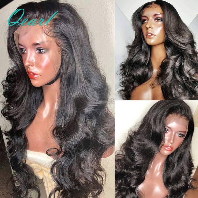 "Long Human Hair Lace Front Wig 200 250 Density Lace Wigs with Baby Hairs Preplucked Wavy Remy Hair PrePlucked 13x4 30"" 32"" Qearl image"