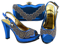 Newest Royal blue Color Latest Design Matching Italian Shoe and Bag Set Wedding and Party African Shoes and Bag Set JZC002