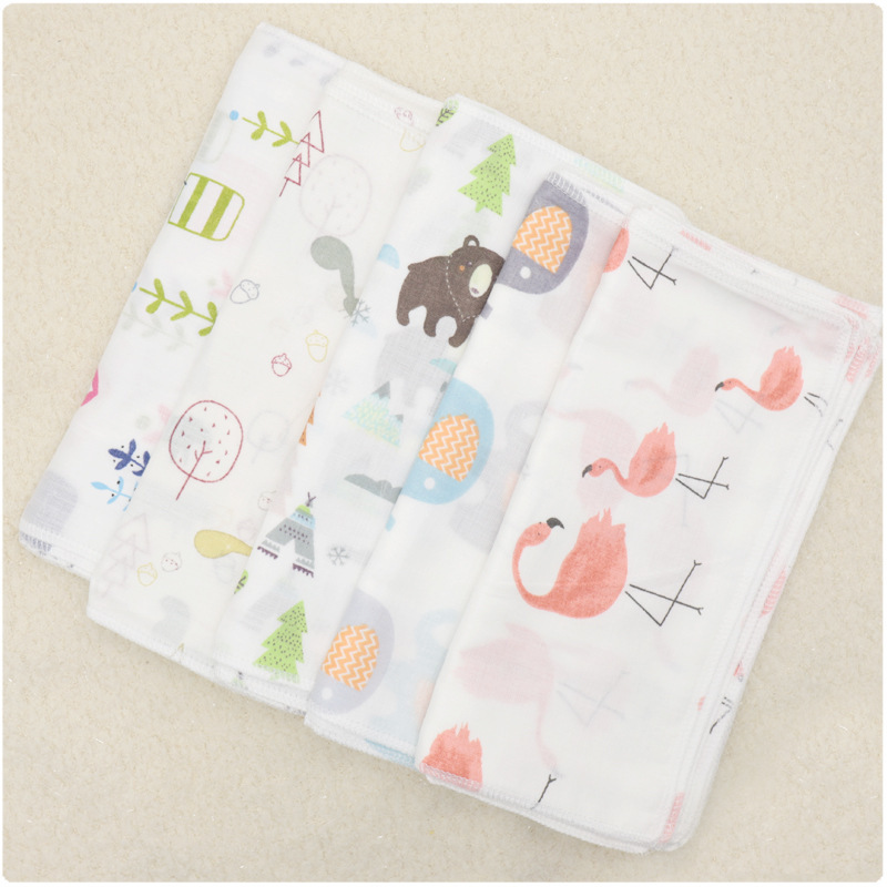 5 Pcs/lot 25*25cm Towels High Density 100% Cotton Cartoon Cosas Para Bebe Soft Baby Washcloth Hand Towel Print Baby Tawel Washed
