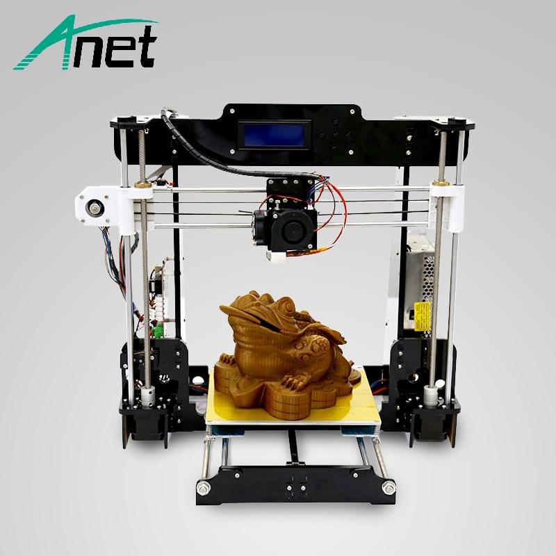 Anet A8 3D Imprimante Haute Précision Facile Assemblée DIY Kit Haute Qualité Chaude Lit LCD Écran 8 gb SD Carte MK8 Buse Moscou Entrepôt