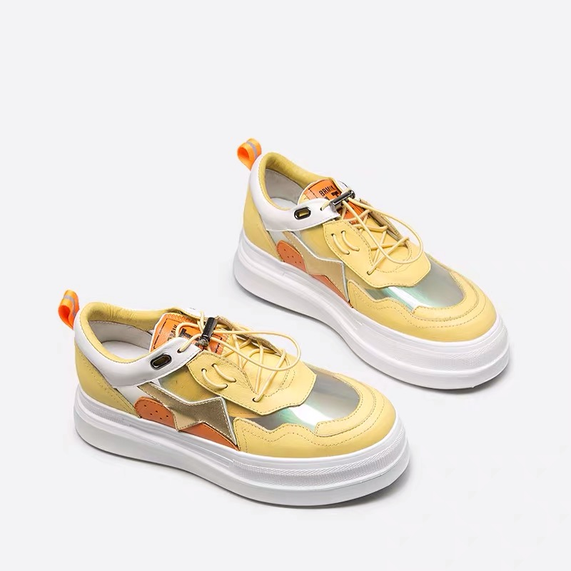Ugi Plateforme Femmes Vache Pour Automne Cuir Plats Chaussures Mode Décontracté Sneakers Vulcanisées 2019 Mocassins blanc De En Argent Véritable Zapatillas jaune Mujer xrCeQBWod