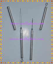 Free shipping 12pcs Lot Aluminum Handle Pulling Loop Needle Hook Needle Hair Extensions Hair Extension Tools
