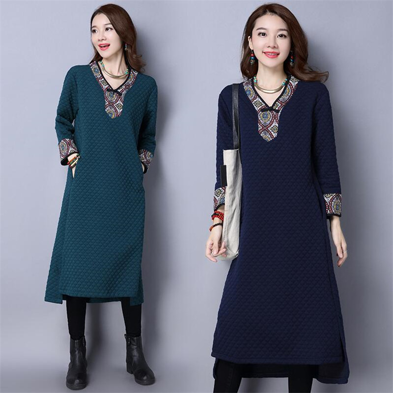 Chinese Style Woman V neck Cotton Dress Autumn Winter 2019 New Casual Embroidery Vintage Thick A line Dress Female Navy Blue