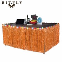 275 75cm Artificial Grass Table Skirt For Hawaiian Party Halloween Decorations Tropical Luau Party Table Decoration