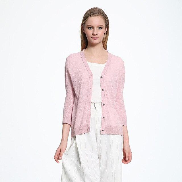 2016 autumn casual light thin linen knitted three quarter women cardigan for women