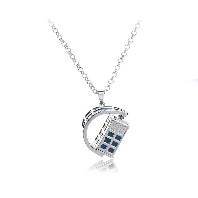 Doctor Who Pendant Necklace Mysterious Dr. Necklace Classic Creative Necklace House Shaped Charm Necklace Jewelrt Lovers Gift