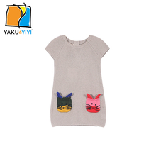 YKYY YAKUYIYI 2016 Brand New Autumn Casual O-Neck Girls Sweater Knitted Sweaters Cartoon Cat Embroidery Children Clothing