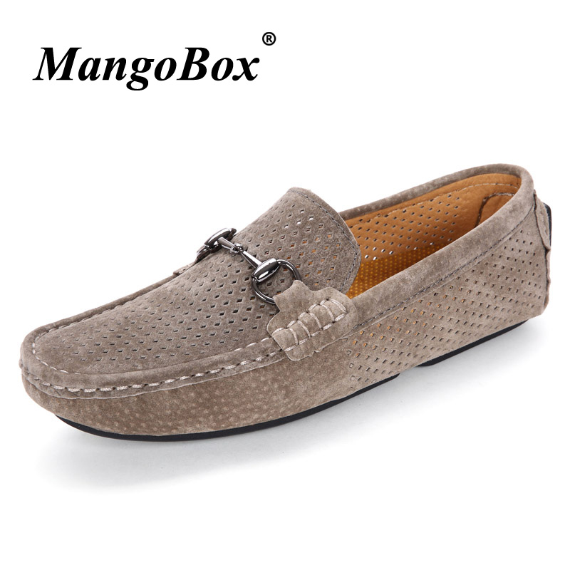 Mens Loafers Shoes Khaki Brown Mens Pig Leather Slip On Shoes - Men's Shoes - Photo 1