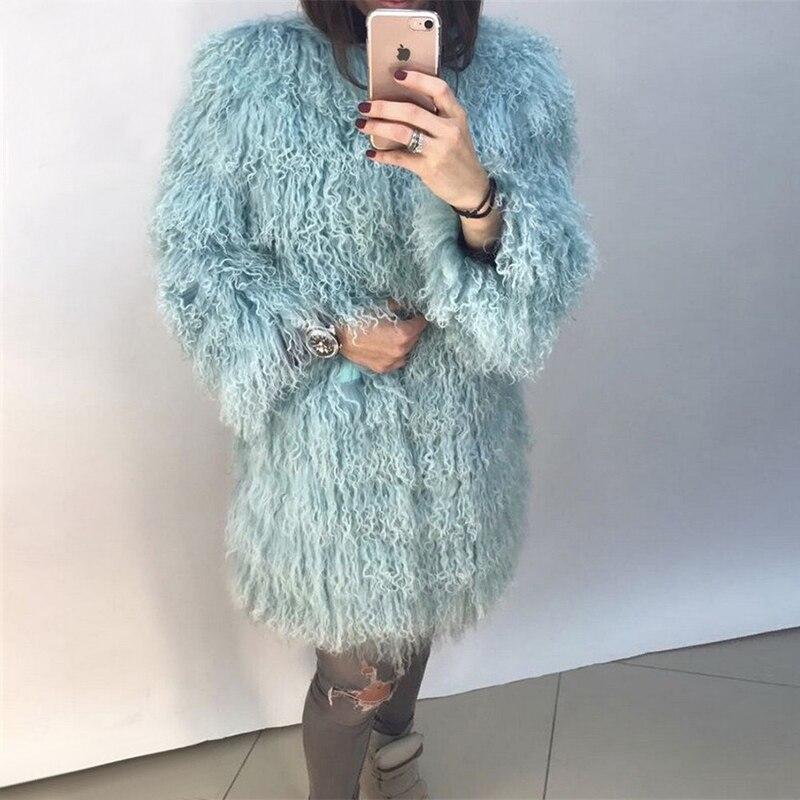 FURSARCAR 80 cm Long Vraie Fourrure Hiver Femmes Manteau De Fourrure D'agneau toute épaisseur Natrual Fourrure Femelle Veste Mongolie Moutons Réel De Fourrure manteau