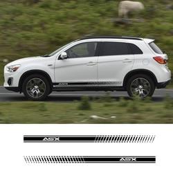 2 uds. De carreras de rayas laterales vehículos calcomanías Auto vinilo gráficos para Mitsubishi ASX