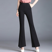Women Slim Fit Casual Black Flare Pants Office Lady Fashion Elastic High Waist Trouser Female Business Pant