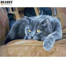 DIADIY 5D DIY Алмазная мозаика Алмазная вышивка серый милый жирный кот вышитая вышивка крестиком украшение дома подарок настенный стикер искусство