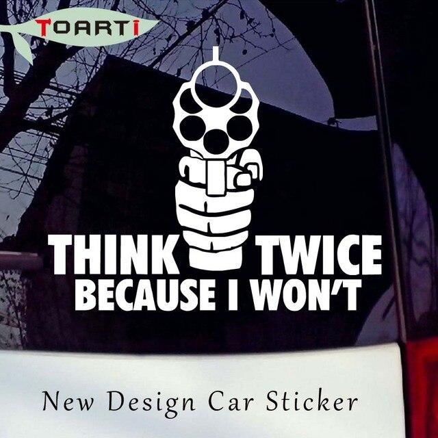 Berpikir dua kali menembak gun vinyl auto sticker styling laptop decal removable waterproof art pistol tangan