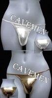Metallic Color Concise Style 1572 Cavemen Official Sexy Men Lingerie Men Sexy T Back Thong G
