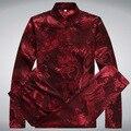 Шелковая Рубашка С Длинным Рукавом мужская С Длинным Рукавом Рубашка С Длинным XL 3XL Кунг-Фу Одежда Шелковая Блузка do263