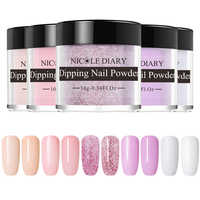 NICOLE DIARY 5 Boxes Nail Powder Set Dipping French Powder Chrome Shinning Manicure Nail Glitter Kit No Need Lamp Cure Decorat