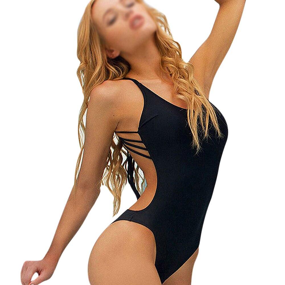 Strappy Sexy One Piece Swimsuit Swimwear Bathing Monokini Push Up Padded Bikini S