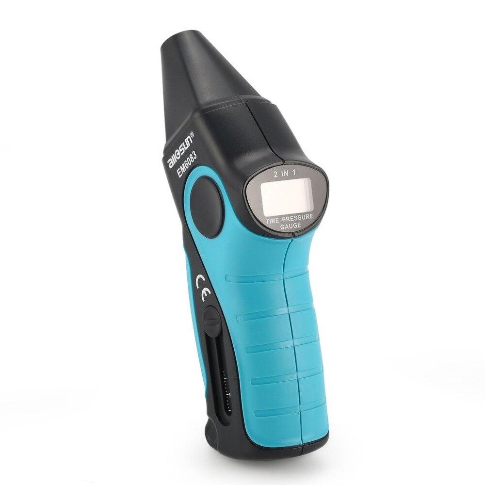 Allsun EM6083 Digital Tire Pressure Gauge Tester Medidor Handheld Display LCD Manômetro Barómetros para o Caminhão Do Carro Da Motocicleta