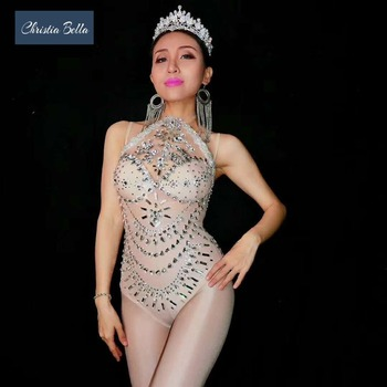 Christia Bella Sexy Rhinestone Perspective Bodysuits Women Party Jumpsuits Nightclub DJ DS Pole Dancing Costumes Stage Wear