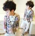 Hermoso fresco gentelman del estilo de inglaterra plaid clásico muchacho de los niños ropa outwear